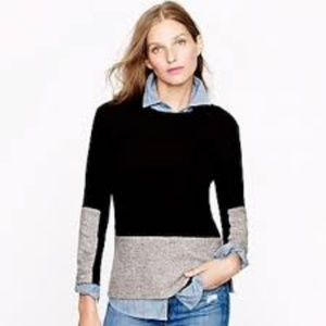 J. Crew WOVEN PANEL SWEATER IN BLACK w/ cashmere